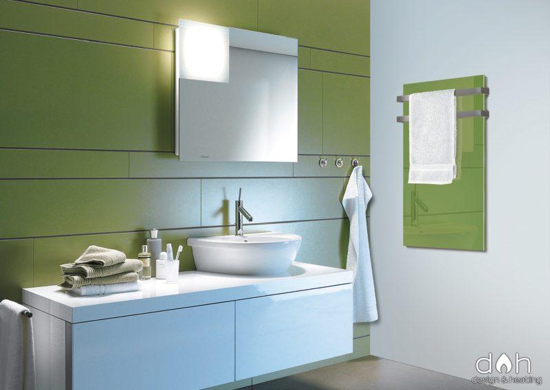Heizpaneel Glas d&h-700G - Grün, mit 2-teiligem Handtuchhalter